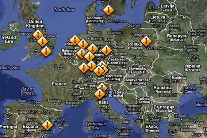 Übersichtskarte exklusive Automobilmarken und Sportwagenmanufakturen mit Kontaktdaten und Serviceadressen