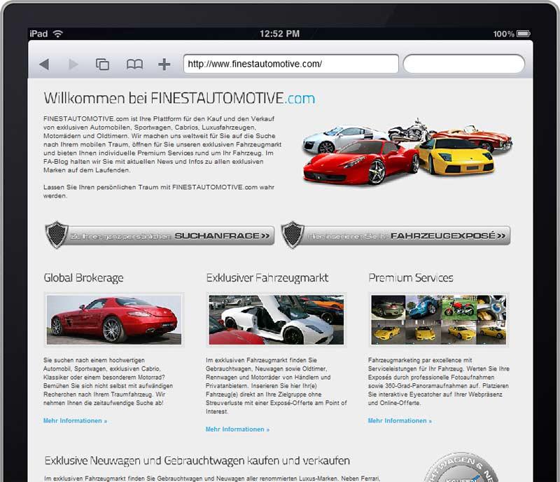 FINESTAUTOMOTIVE.com auf dem iPad
