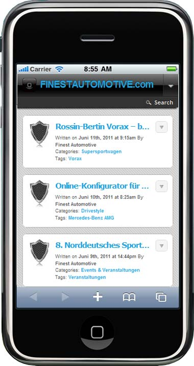 "FINESTAUTOMOTIVE.com auf dem iPhone""  width="