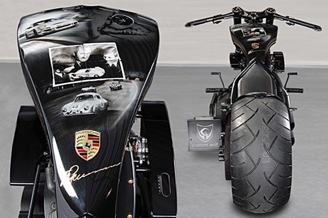 "Porsche Tribute Bike - Exklusives Custombike im edlen Design"" width="
