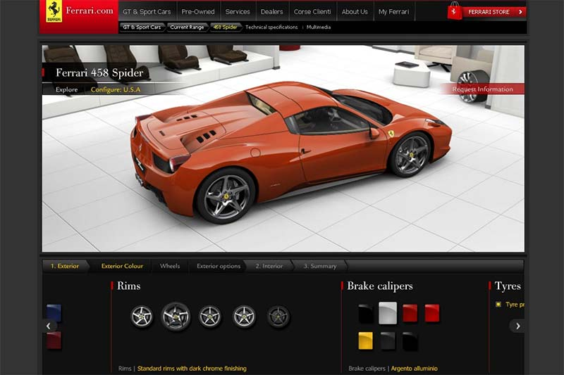 Ferrari 458 Spider Onlinekonfigurator