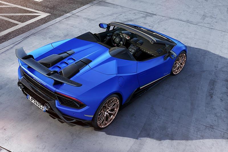 Der Lamborghini Huracan Performante Spyder von oben mit geöffnetem Dach