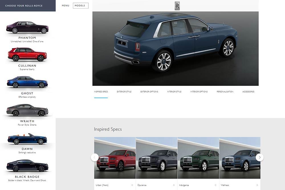 Online Konfigurator für den Rolls-Royce Cullinan