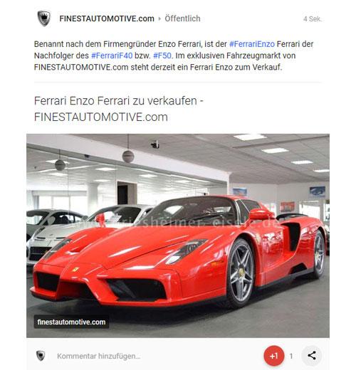 Referenz Social Media Ferrari Enzo