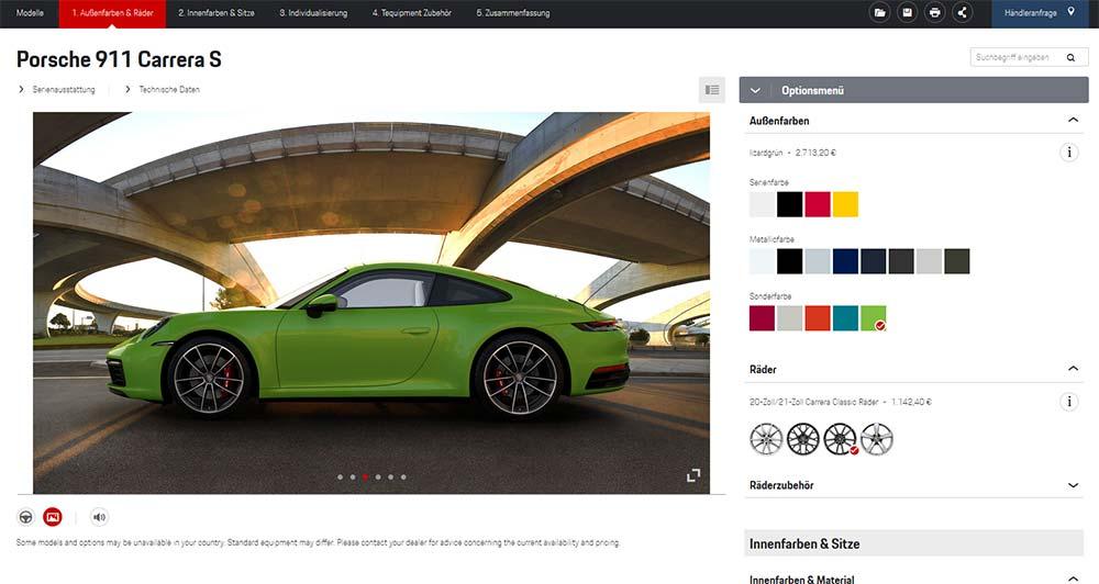 Porsche 911 Online-Konfigurator
