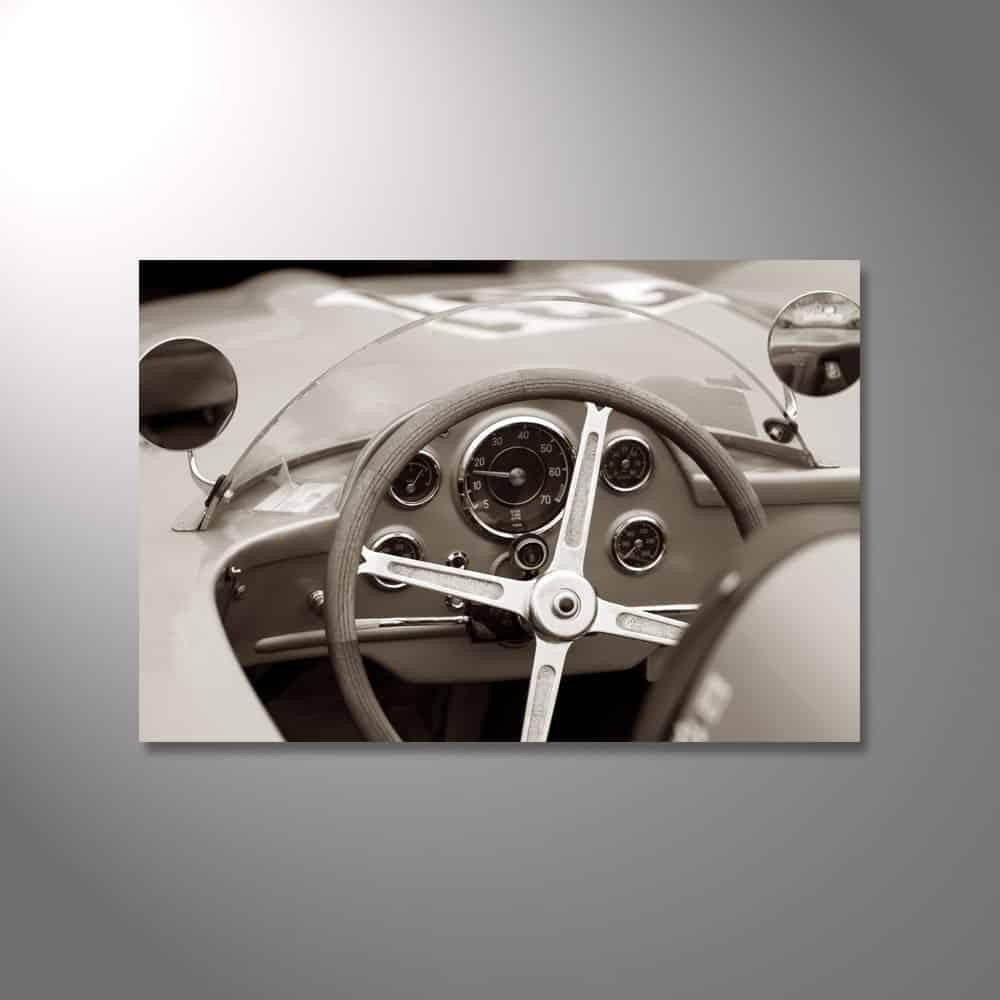 Wandbild aus Acryl - Cockpit eines Rennwagen-Oldtimers