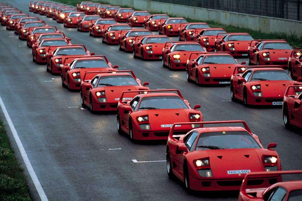 Ein Ferrari F40-Treffen des Ferrari Club Deutschland im Jahre 1992
