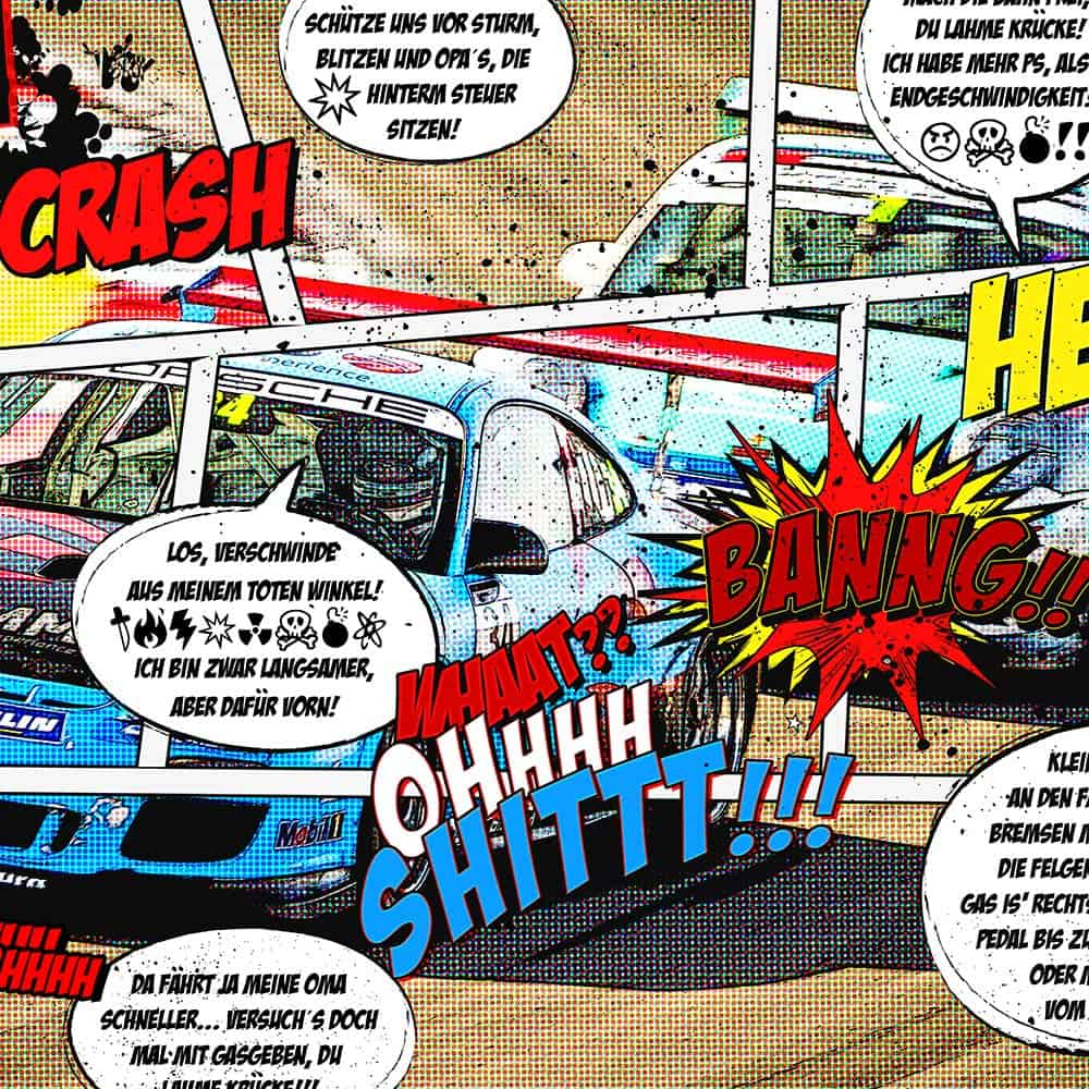 """Wandbild Porsche Motorsport """"Race Comic"""""""